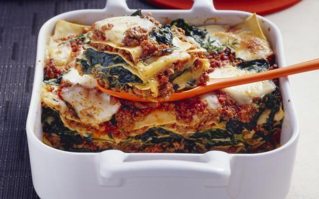 Lasagne met gehakt en spinazie