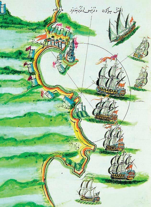 Kitâb-ı Bahriye'de Cezayir ve limanda Osmanlı Gemileri