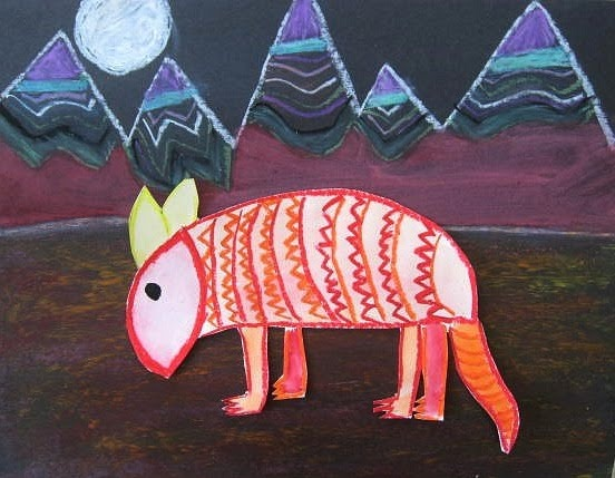 Armadillo Ray- cute elementary art lesson
