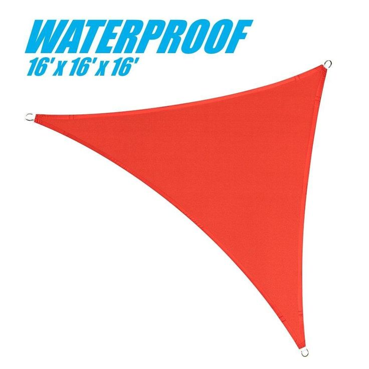 100% BLOCKAGE Waterproof 16' x 16' x 16' Sun Shade Sail Canopy Triangle Red