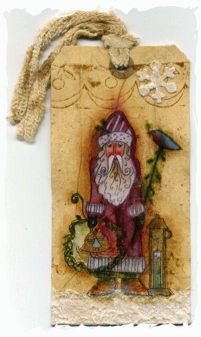 Primitive   ornament  father xmas tag by lizziebusyhandmade, $6.00