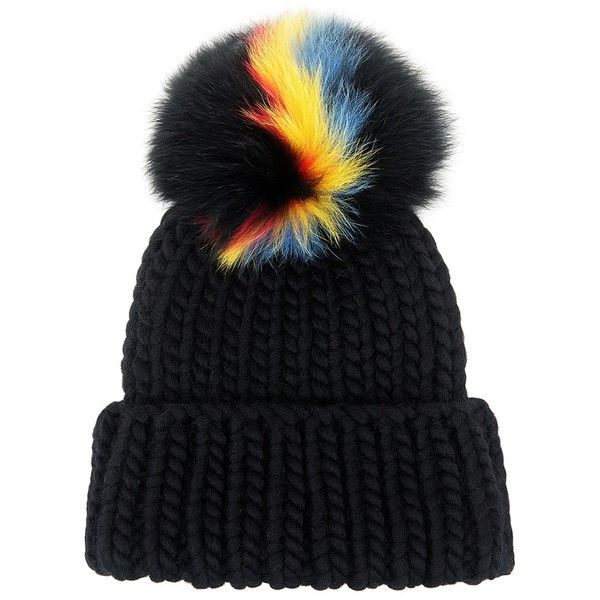 Eugenia Kim - Fur Pompom Rain Beanie found on Polyvore featuring accessories, hats, beanies, headwear, pompom hat, pom beanie, fur hat, eugenia kim hats and beanie cap hat