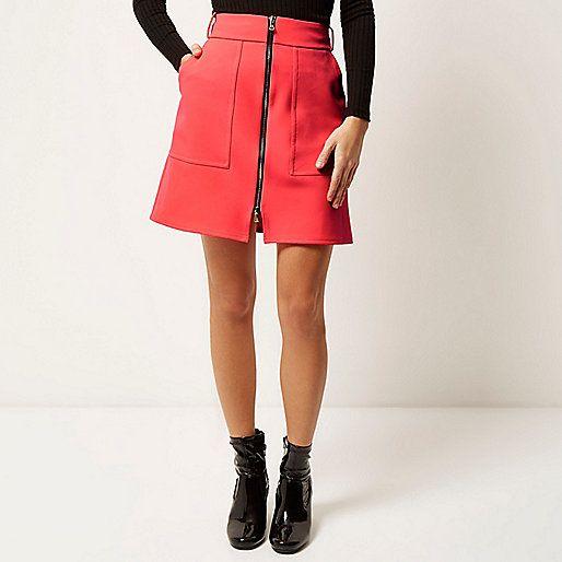 Pink zip-up A-line skirt - skirts - sale - women