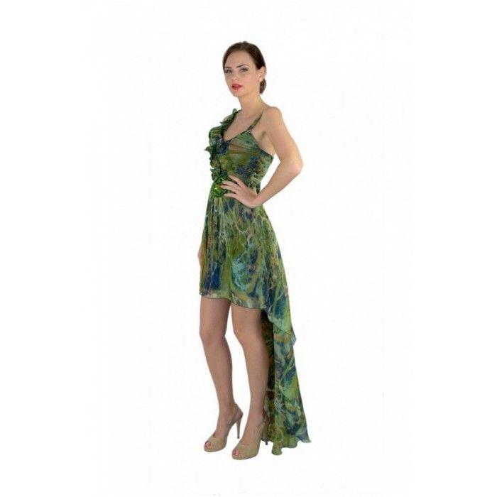 Rochie de seara verde din matase naturala cu trena  http://iuniq.ro/rochie-de-seara-verde-din-matase-naturala-cu-trena
