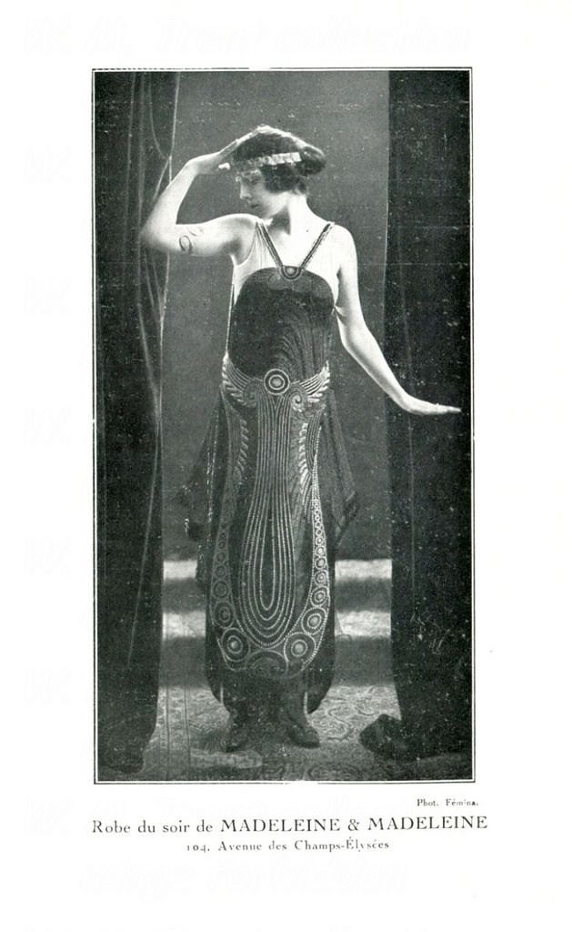 From Paris in 1920 an advertisement for evening gowns from Madeleine & Madeleine of Paris.