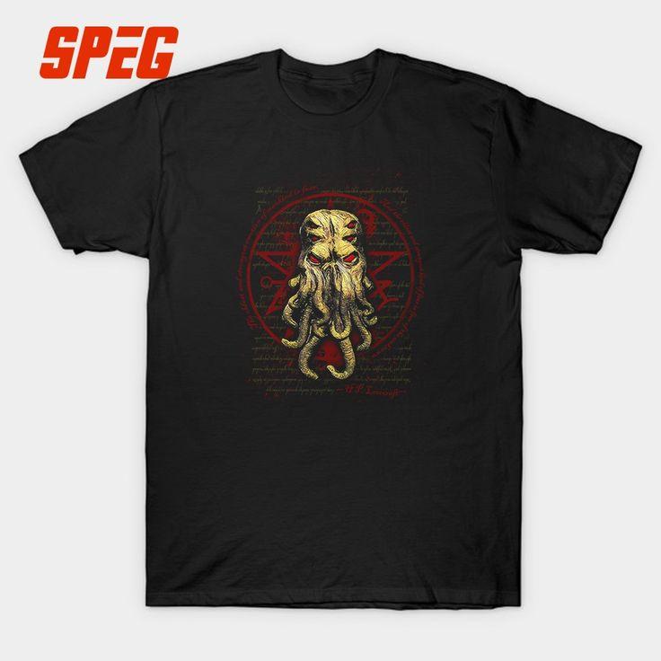 Printed Tee Cthulhu Shirt Adult Round Neck Short Sleeve Shirts Hot Cheap Male Customised T Shirts #Affiliate