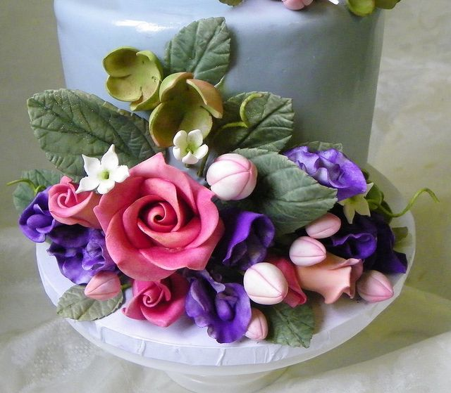 Sugar Flower Mini Wedding Cake by Wild Orchid Baking Co., via Flickr