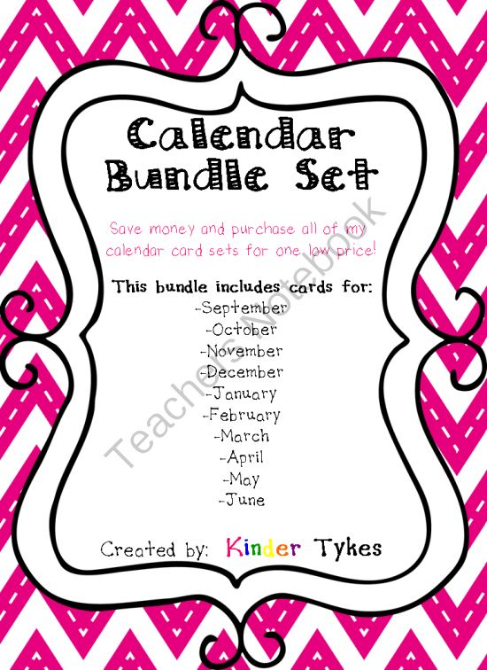 Calendar Bundle Set by Kinder Tykes from KinderTykes on TeachersNotebook.com -  - Calendar Cards by Kinder Tykes are a great way to add personalization and fun to your classroom!