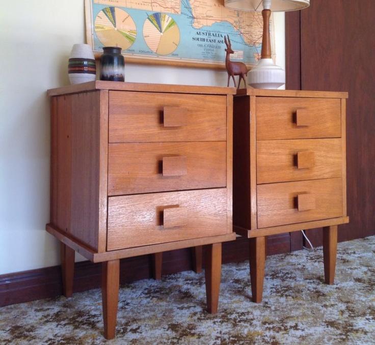 RETRO Vintage 60s TEAK Bedside Tables Drawers Parker Eames Fler era Danish style | eBay