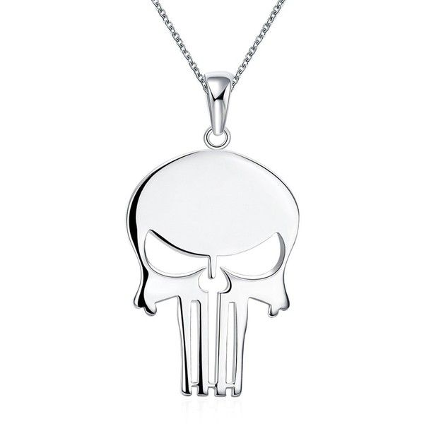 Amazon.com: Punisher Skull Pendant Necklace for Women Sterling Silver... ($8) ❤ liked on Polyvore featuring jewelry, pendants, charm pendants, skull pendant necklace, skull jewelry, sterling silver plated jewelry and pendant jewelry