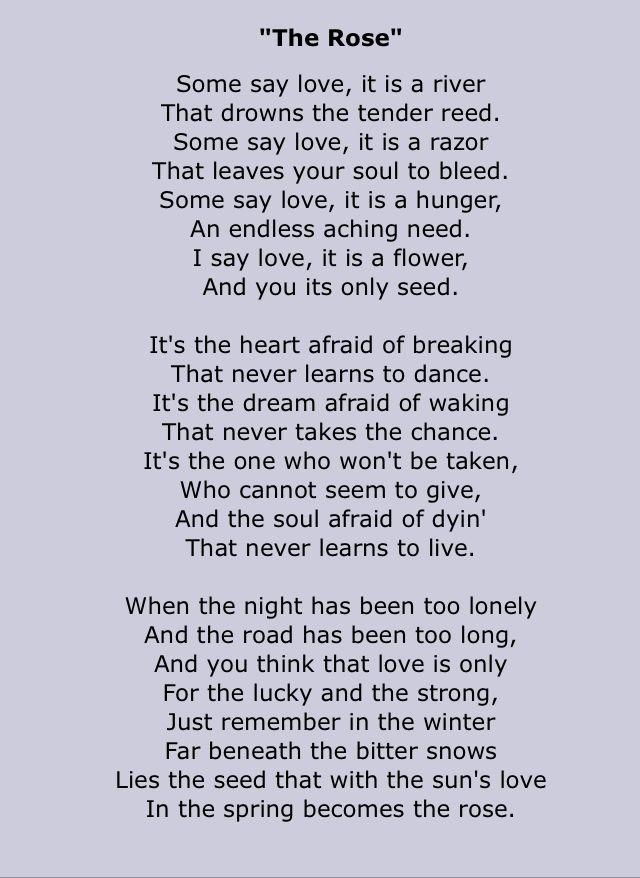 Bette Midler - The Rose - 1980 Writer: Amanda McBroom Album=The Rose Song Lyrics
