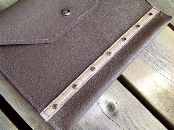 Slate Grey Leather iPad Case with Metallic Silver Band & Gunmetal Studs by HeartnSoulHandbags, $80.00