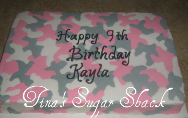Pink Camo 1 2 Sheet Cake Iced In Buttercream Pink Grey