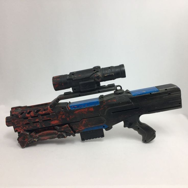 Nerf Longshot CS-6 Black Blue Red Painted and Scope Cosplay Larp Gamer Untested #NERF