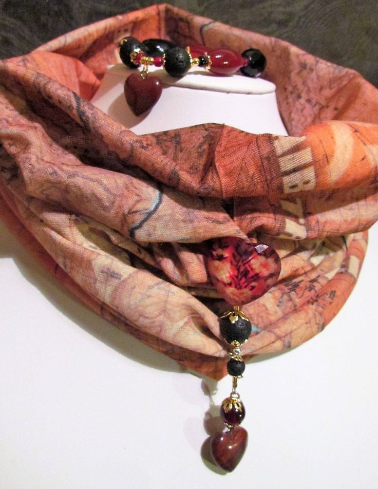 Val's Snuggly Neck Warmer/Snood/Scarf Matching Bracelet with Lava Beads & Jasper Gemstones. by MoirasJewelleryBox on Etsy