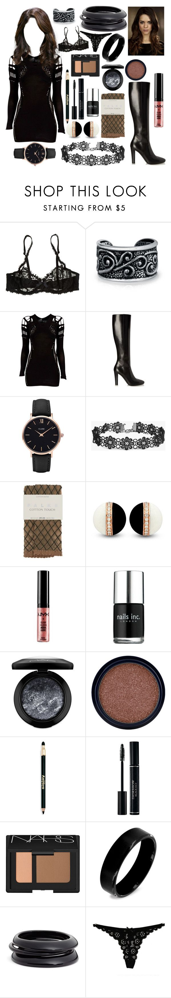 """""""Lee at The Thing"""" by lulu-the-guinea-pig ❤ liked on Polyvore featuring Bling Jewelry, Mark Fast, Yves Saint Laurent, CLUSE, Boohoo, Falke, NYX, Nails Inc., MAC Cosmetics and Max Factor"""