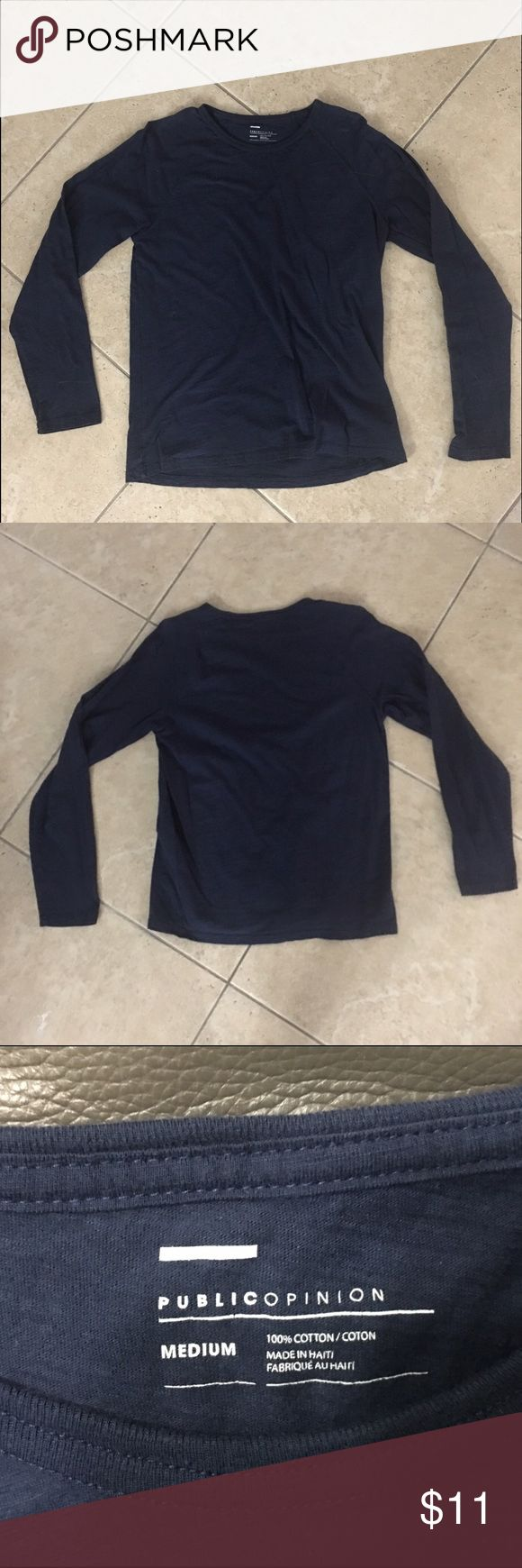 "Long sleeve Navy Blue Cotton T-shirt This is a long sleeve Navy Blue ""Public Opinion"" brand 100% cotton form fitting T-shirt. Very comfortable, worn 1 time. Public Opinion Shirts Tees - Long Sleeve"