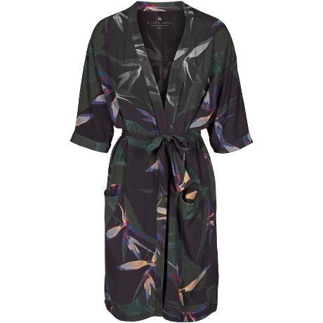Julia kimono. Cool kimono with green and black paradise flower print.