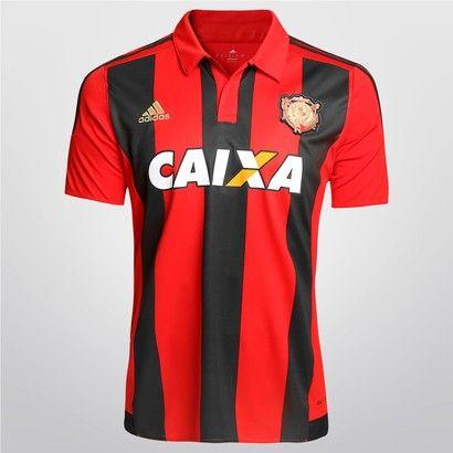 Camisa Adidas Sport Recife I 2015 s/nº - c/ Patrocínio - Vermelho+Preto