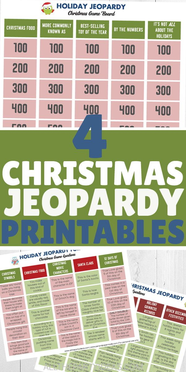 Free Christmas Jeopardy Printable Game Board Questions And Answers Christmas Jeopardy Family Christmas Party Work Christmas Party