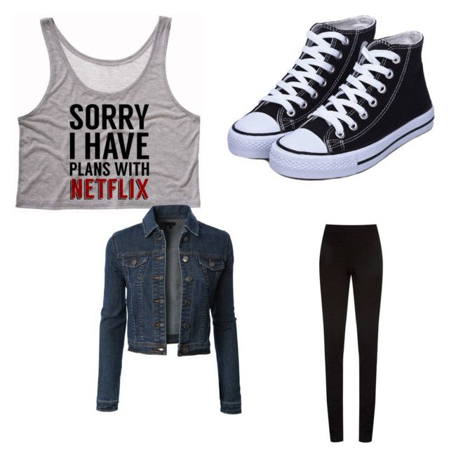 """""""Netflix"""" by alilynn25 on Polyvore featuring LE3NO and DKNY"""