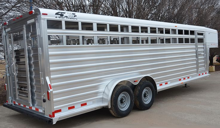 """7'x24'x6'6"""" 4-Star Stock Trailer w/ 2 Full Width Center Partitions w/ Outside Release Slam Latches (800) 848-3095"""