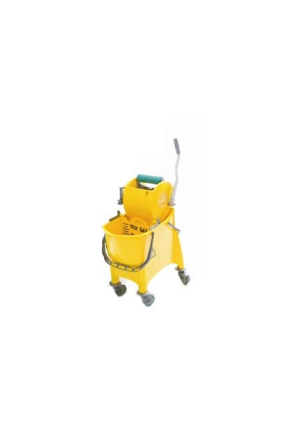 Divided bucket with bottomless side press wringer: Mop bucket and side press wringer with divider board