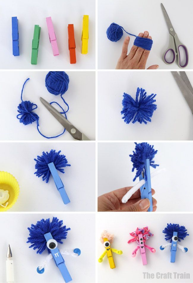 DIY Craft: Esy monster craft you can make from standard wooden clothes pegs (or clothespins). This is a fun and easy Halloween craft idea for kids <a class=
