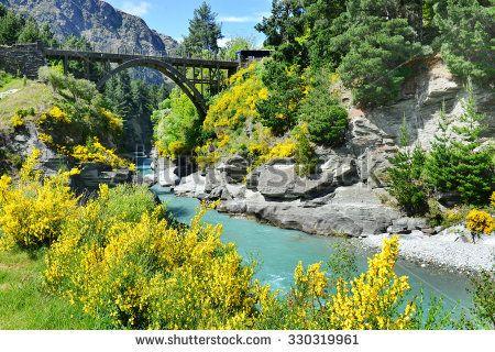 Wooden historic bridge over the shotover river, Queenstown, New Zealand