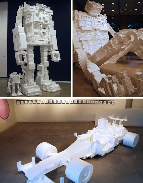 From robots to cars, couches and lamps, these recycled styrofoam sculptures will surely inspire.