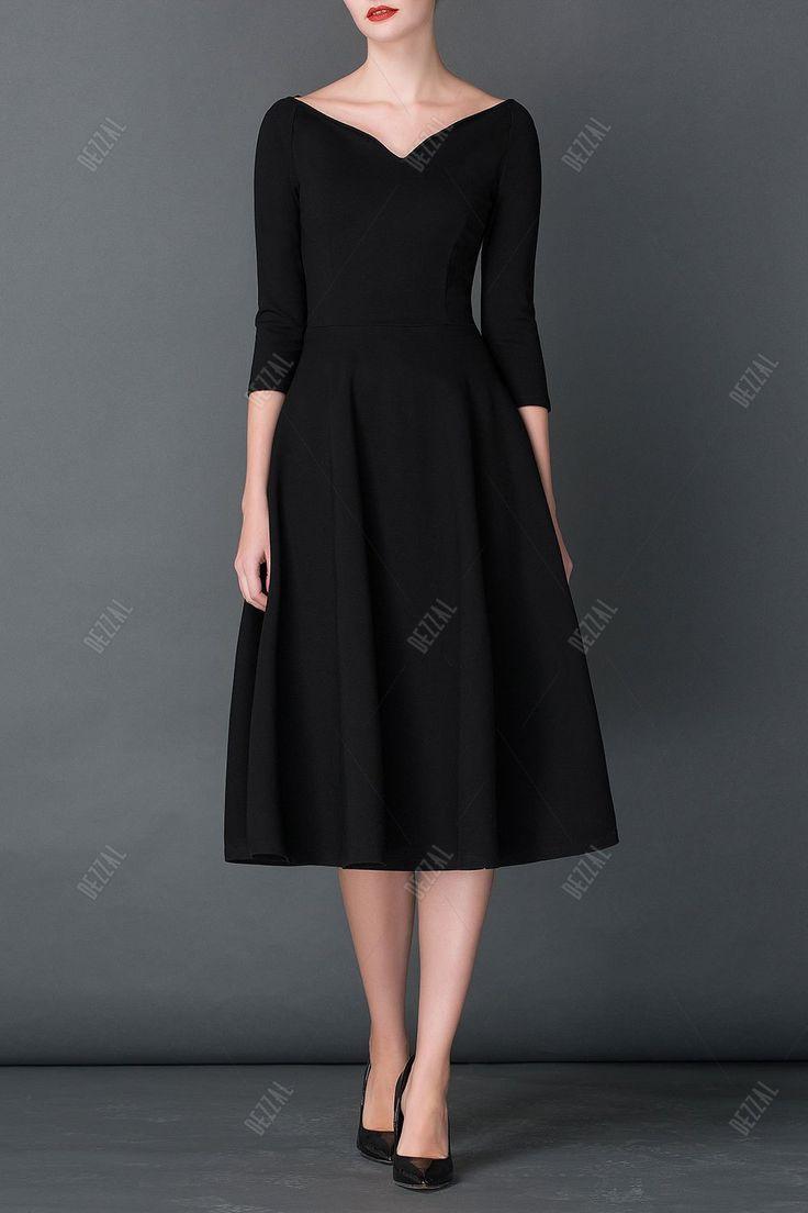 A Line Midi Hepburn Dress - BLACK XL