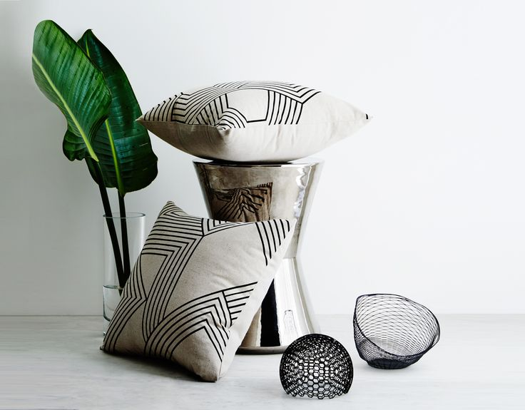 Apex and Geo mono cushions.  Screen-printed by hand. Geometric design by Sly. Shot by Annette O'brien.