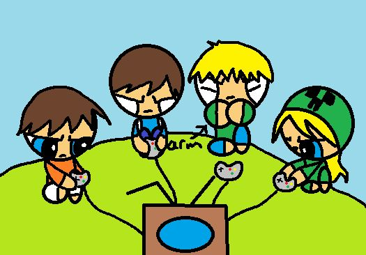 me will and 2 minecraft characters named Creeper and Herobrine  play video games