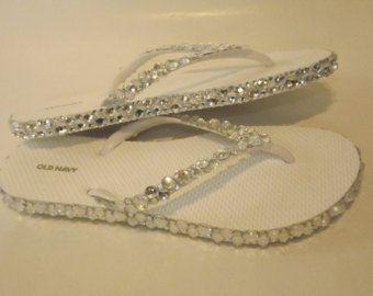 Rhinestone Bling Flip Flop Wedge Sandals Bridal by EVRhinestones