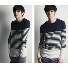 Mens New Style Korean Color Block Stripe Pattern Long Sleeve T-Shirt For Men