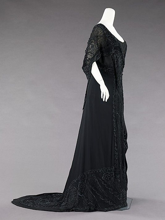 Mourning Dress  Charlotte Duclos  (French)  Date: ca. 1910  Culture: French  Medium: silk, jet