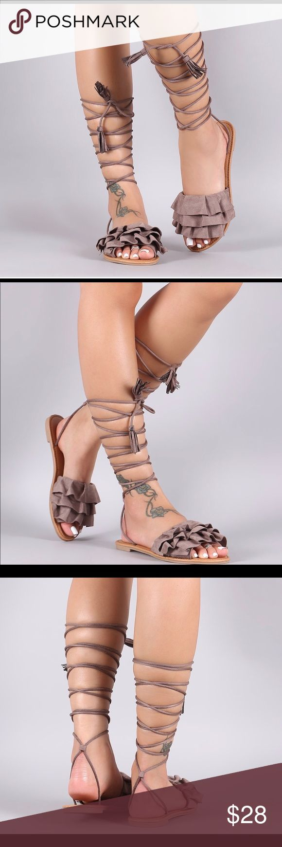Suede Tiered Ruffle Lace-Up Flat Sandal Lightly padded insole. Vegan Suede (man-made) Sole: Rubber Shoes Sandals