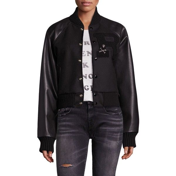 R13 Leather Sleeve Varsity Jacket (5,145 ILS) ❤ liked on Polyvore featuring outerwear, jackets, apparel & accessories, genuine leather jackets, patch jacket, stand collar jacket, skull leather jacket and letterman jackets