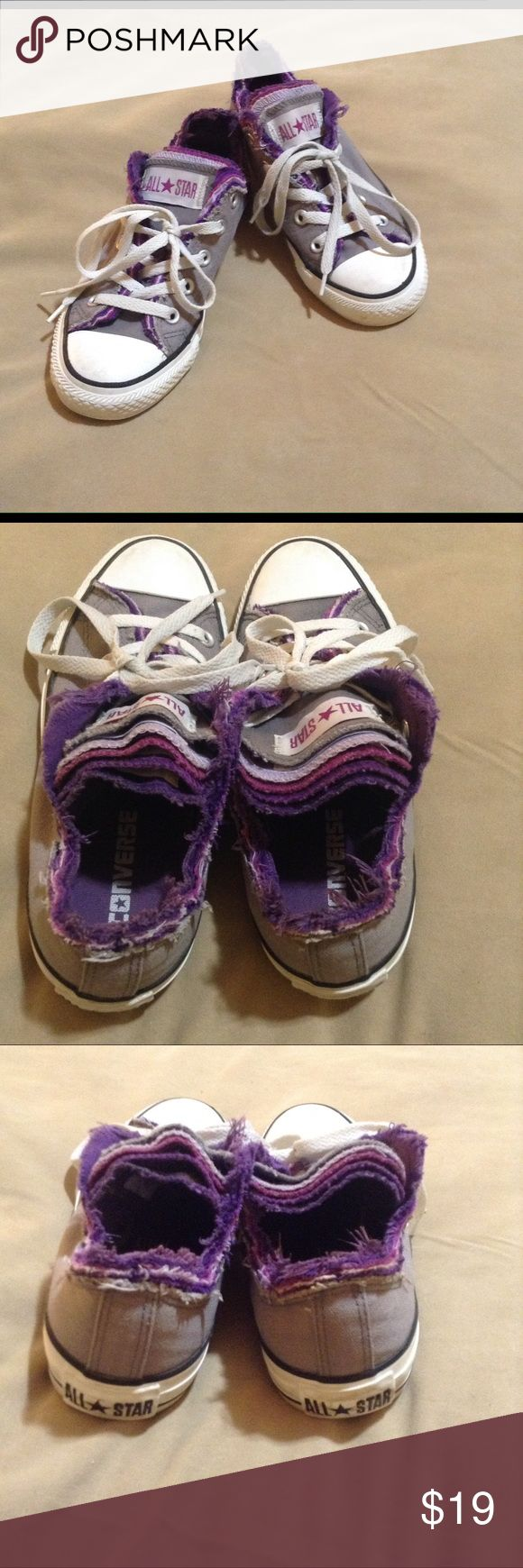 Converse 5 grey with multi purple tongue sneakers Grey