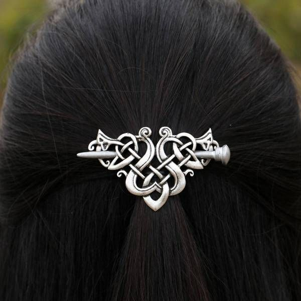 Women Hairpin Antique Silver Metal Stick Slide Hair Clip Celtics Knots Hairpins