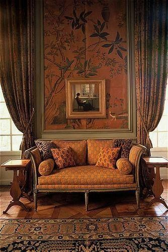 Burnt Sienna Chinoiserie Walls and Green Paneling in the Chinese Cabinet Room at La Mirande in Avignon