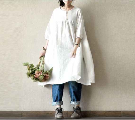 summer and autumn soft cotton  dresses / white  long  women  dress / loose skirt  for girl's    AOLO-162 on Etsy, $65.00