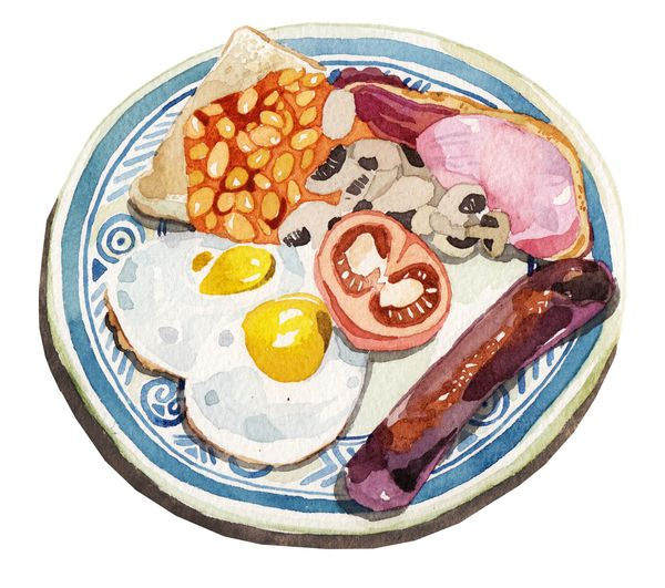 Watercolour Breakfast Food Illustrations by Holly Exley, via Behance