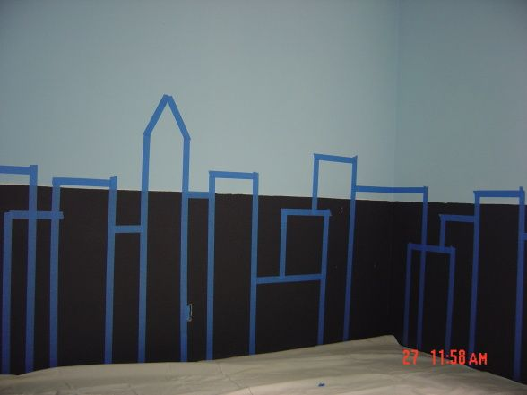 great visual for making a superhero room city scape!