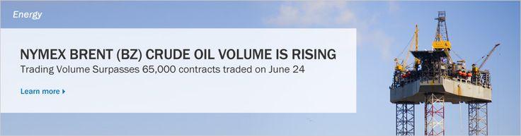 June 26, 2013: NYMEX Brent (BZ) crude oil volume is rising.