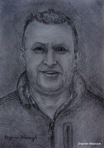 Zbigniew Błaszczyk - Portret kolegi Bogdana wykonany ołówkiem na brystolu fakturowanym formatu A-4