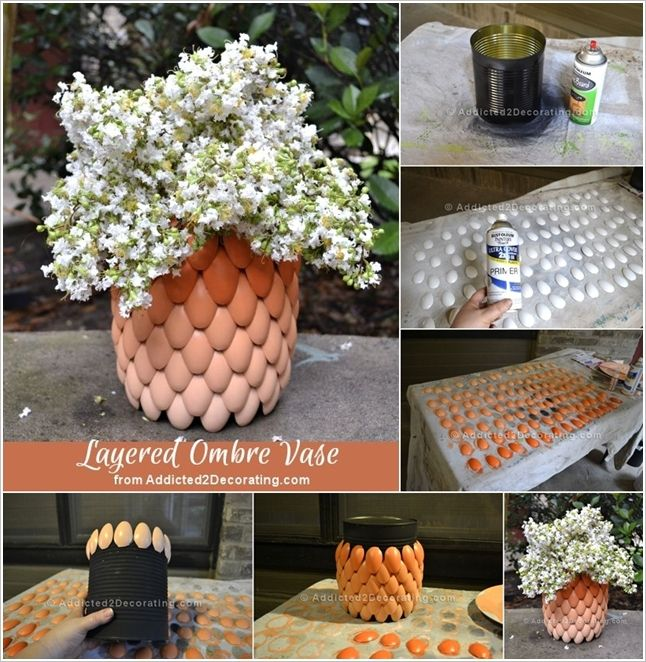 Craft an Awesome Ombre Vase like this with Plastic Spoons