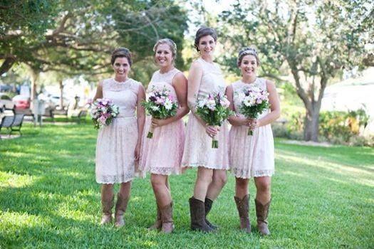 Smith Wedding in Vero Beach: These four bridesmaids were very happy with their dresses and boots. Each bridesmaid looked great. They can wear the dress for another occasion. They were comfortable ALL day and the dress was affordable. When choosing a dress for bridesmaids each bride should consider, wedding theme/style, flattering fit, comfort and budget.