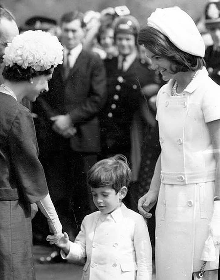 Queen Elizabeth, John Kennedy, Jr. and Jackie Kennedy