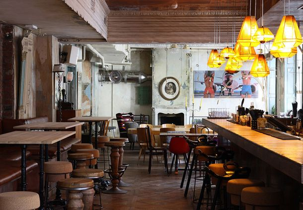 """New playground restaurant """"Sooty""""  Lighting Tom Dixon. Thin metal mesh, which are made of light, gives a soft, diffused light over the area of the bar.